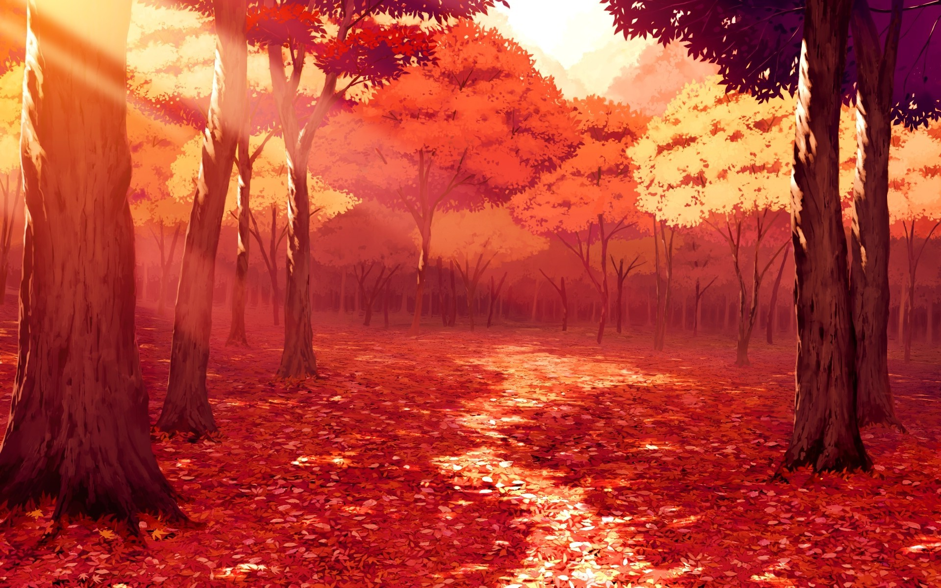 3d Falling Leaves Animated Wallpaper Drawing Artwork Fall Leaves Sunlight Forest Red