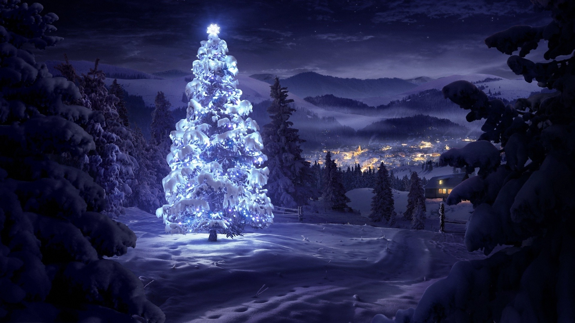 3d Christmas Wallpaper Backgrounds 2015 Christmas Night Landscape Christmas Tree Mountain
