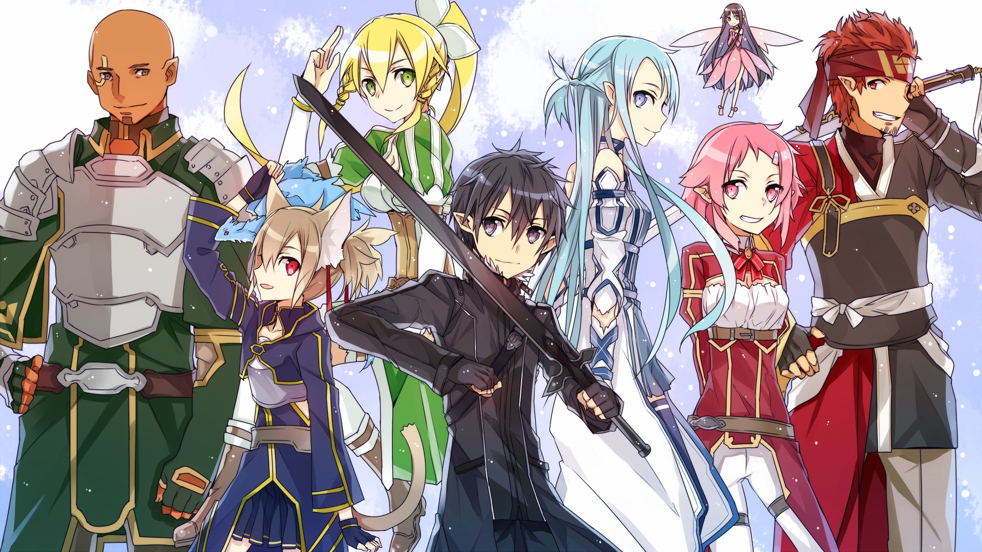Happy Holidays Anime Girl Wallpaper 1920x1080 Anime Anime Girls Anime Boys Sword Art Online Kirigaya