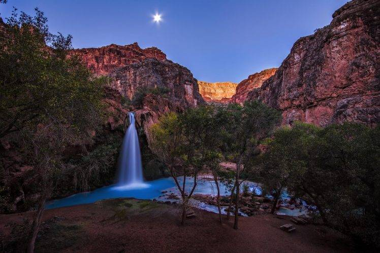 Havasu Falls Wallpaper Nature Landscape Night Moon Rock Long Exposure