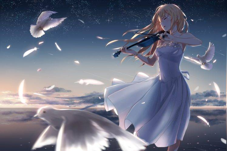 Pink Feathers Falling Wallpaper White Dress Long Hair Tears Birds Feathers Flower