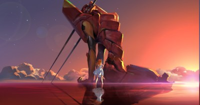 Neon Genesis Evangelion, Asuka Langley Soryu, EVA Unit 02, Water, Reflection, Clouds, Stars ...