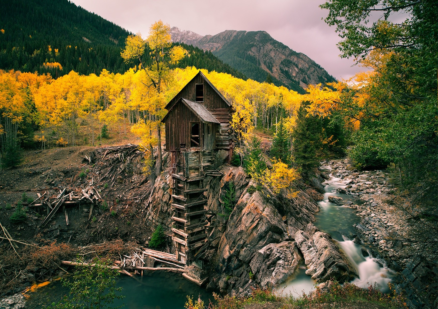The Fall Movie Wallpaper Mill Fall River Mining Forest Mountain Trees Water