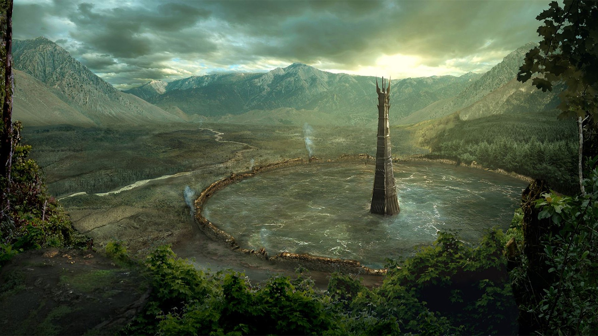 Lotr Fall Wallpaper Isengard Fantasy Art Forest Mountain Tower Water