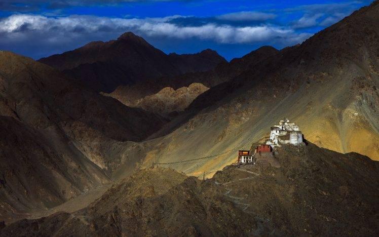 Himalaya Hd Wallpaper Nature Landscape Mountain Clouds House Hill Tibet