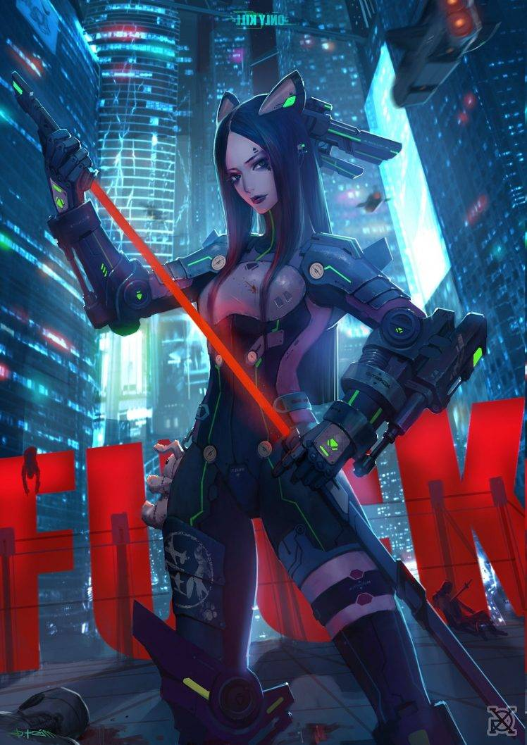 1920x1080 Wallpaper Futuristic Girl Anime Girls Cyberpunk Warrior Wallpapers Hd Desktop