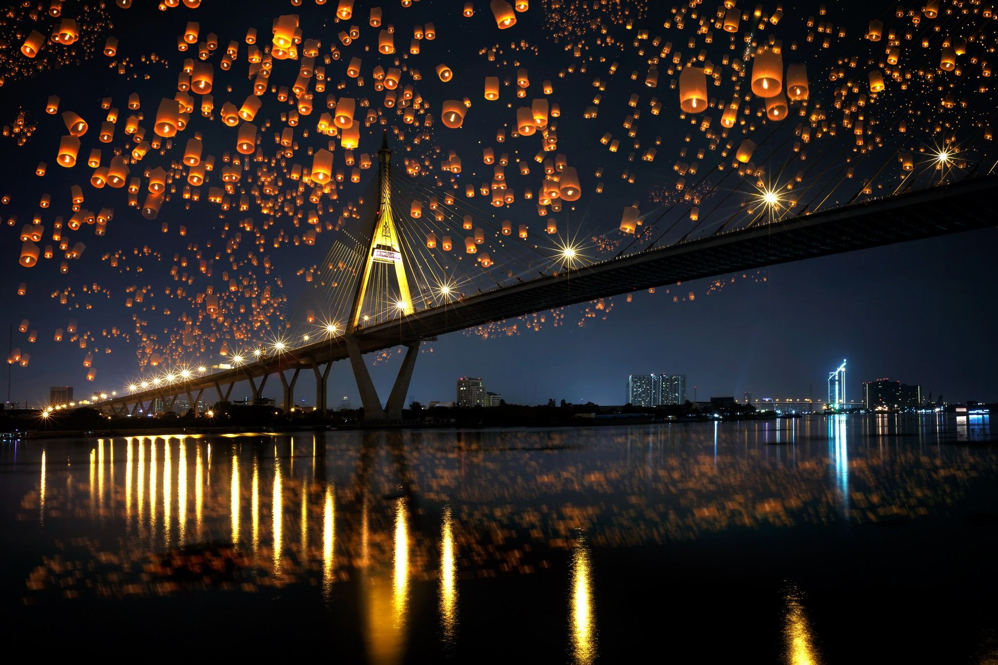 Sky Lanterns Wallpaper Iphone Landscape Bridge Night Sky Lanterns Reflection