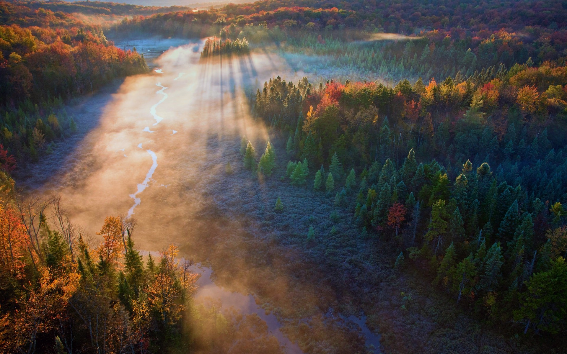 Fall Wallpaper For Computer Screen Forest Mist Sunrise Trees Field River Sun Rays Fall