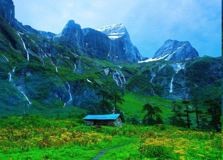 Fall High Definition Wallpapers Mountain Valley Path Nepal Himalayas Snowy Peak