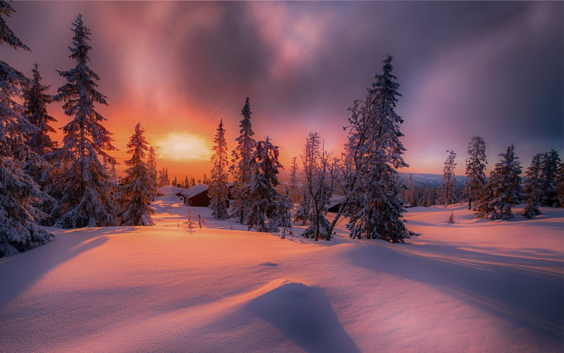 Full Hd Wallpapers Sunsets Nature Landscape Forest Sunset Cottage Winter Snow