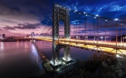 Frantic 220477 Nature Landscape Mist Bridge Lights New York City Technology Night River New York Landscape Prints New York Landscape Lighting