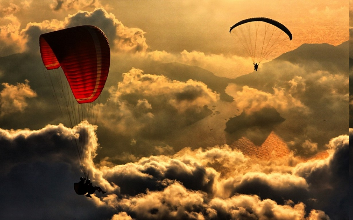 Animal Man Wallpaper Nature Landscape Paragliding Aerial View Clouds Sea