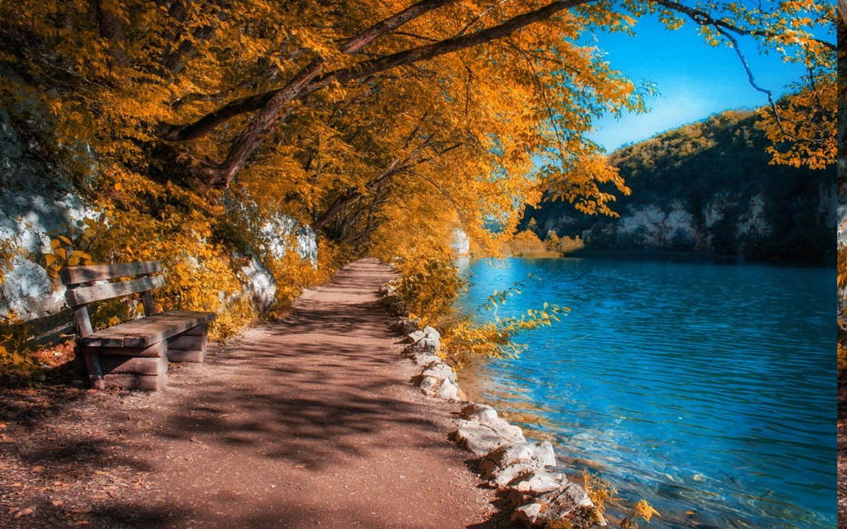 I Love U 3d Wallpaper Landscape Nature Fall Path River Plitvice National