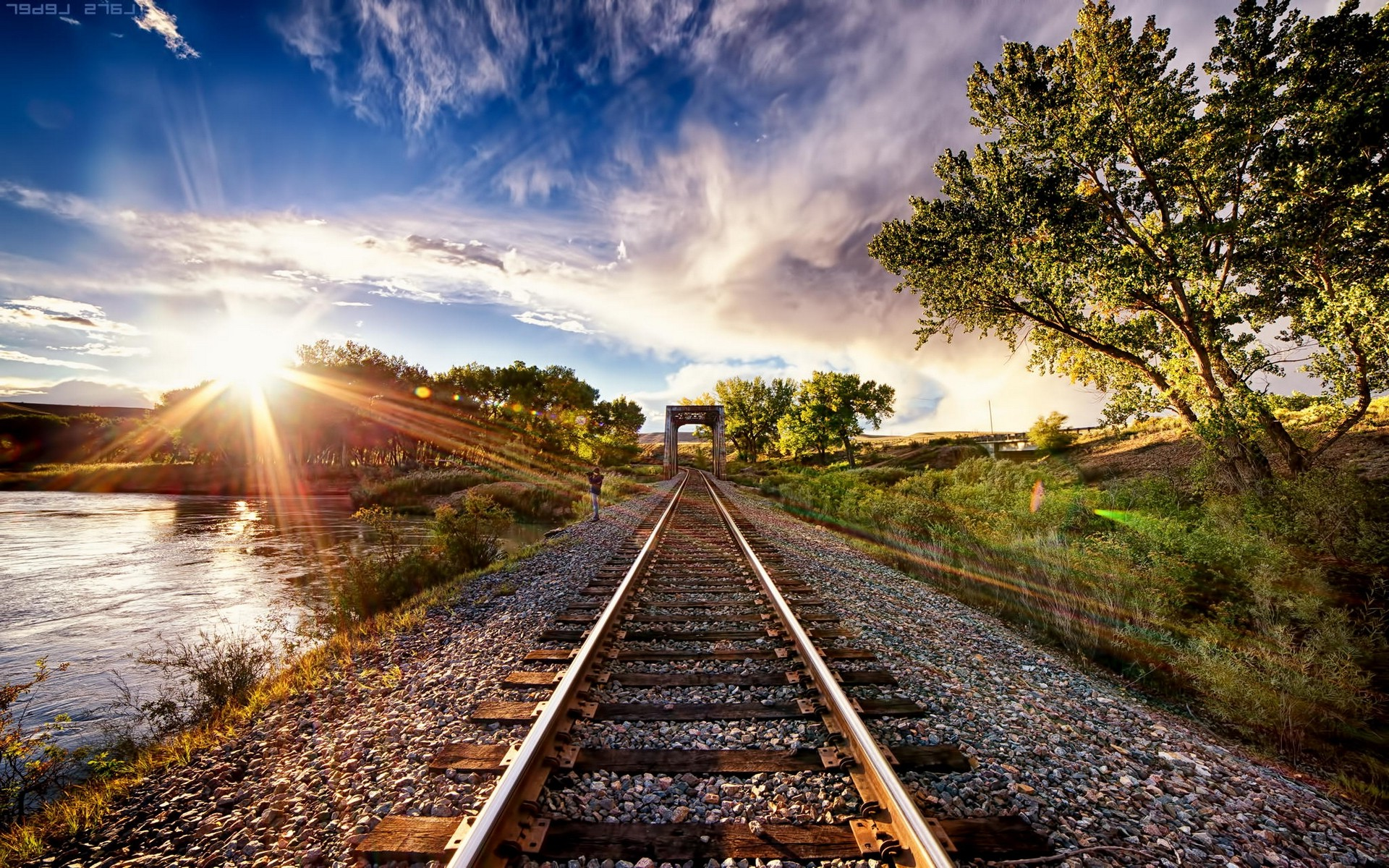 Free Full Screen Fall Wallpaper Nature Landscape Sunset Tracks Train Sun Rays Trees