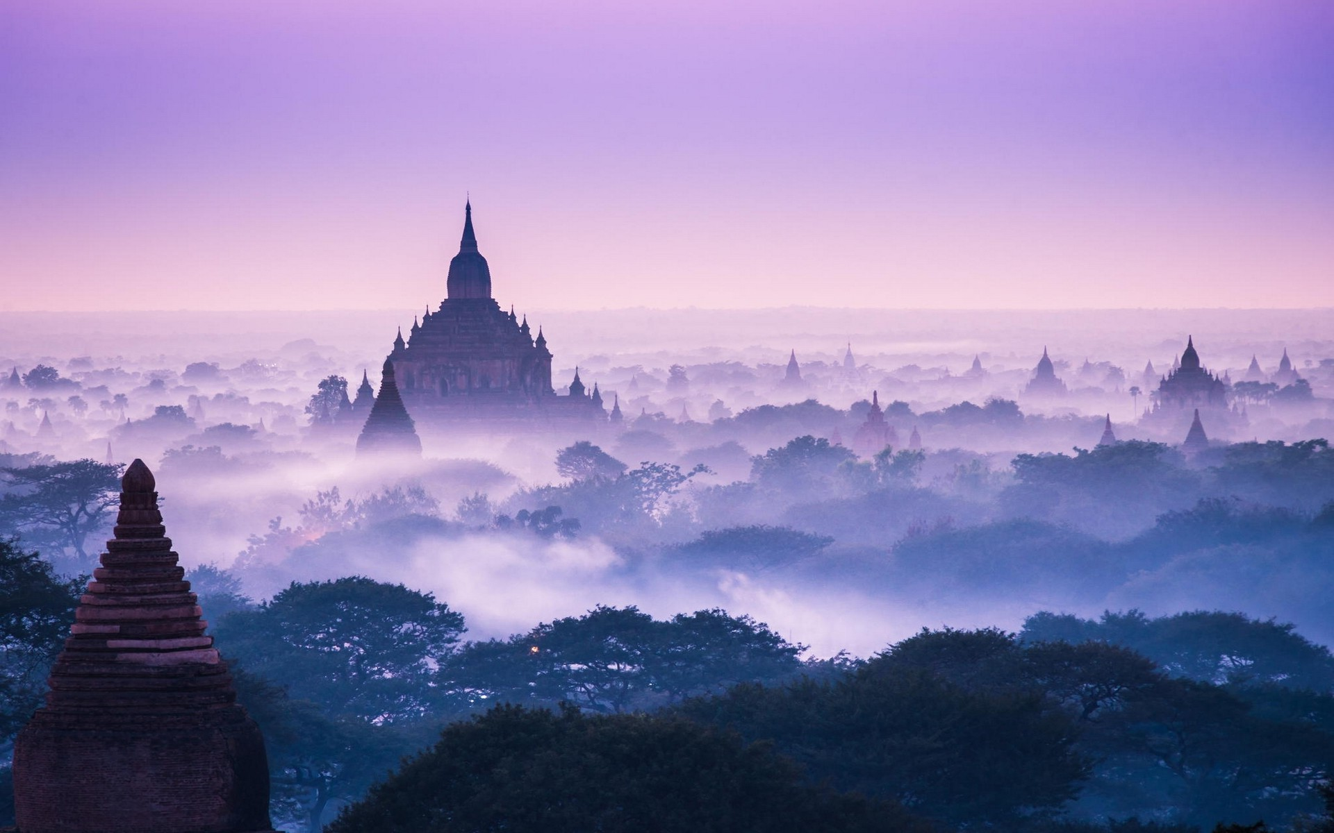 3d Hd Scenery Wallpapers Nature Landscape Temple Mist Trees Asia Morning