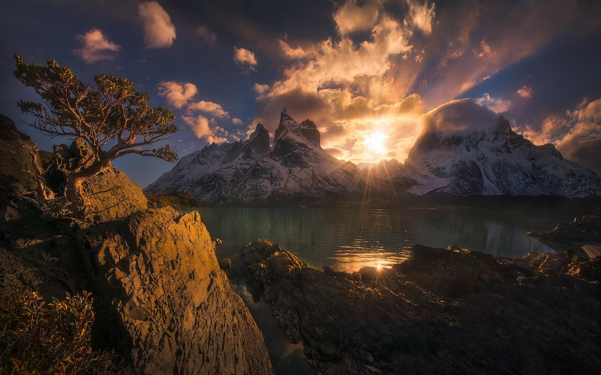 Falling Water Hd Wallpaper Nature Landscape Mountain Sunset Chile Torres Del