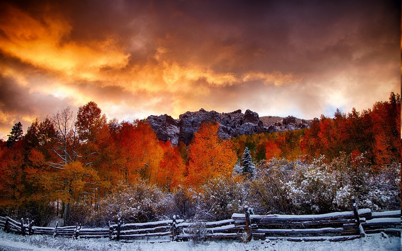 Home Screen Wallpaper Fall Nature Fall Snow Landscape Fence Forest Clouds