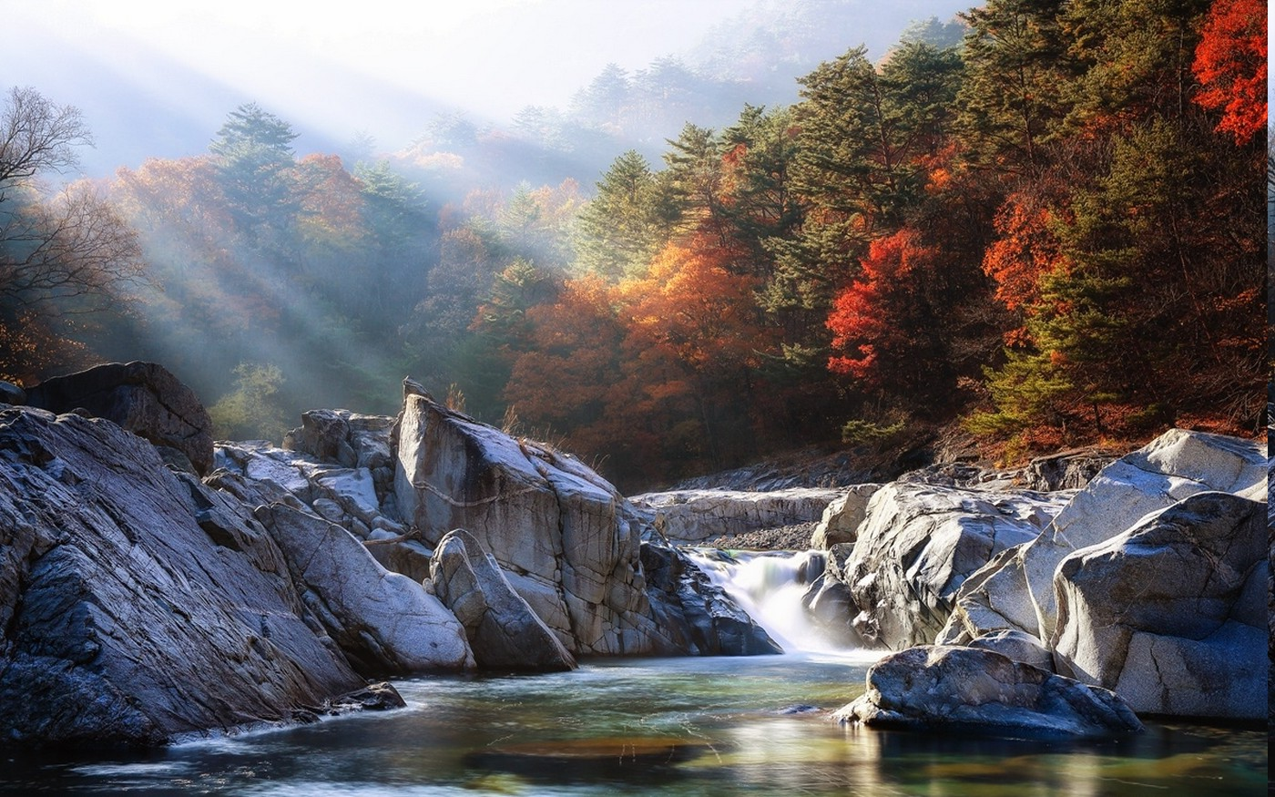 Full Screen Desktop Fall Wallpaper Landscape Nature River Mist Forest Sunrise Fall Sun