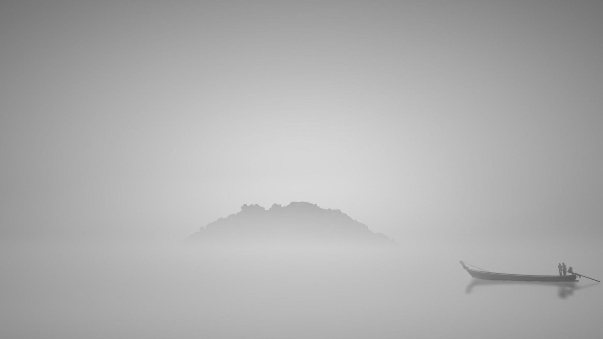 Japanese Wave Wallpaper Hd Nature Landscape Water Lake Hill Mist Boat People