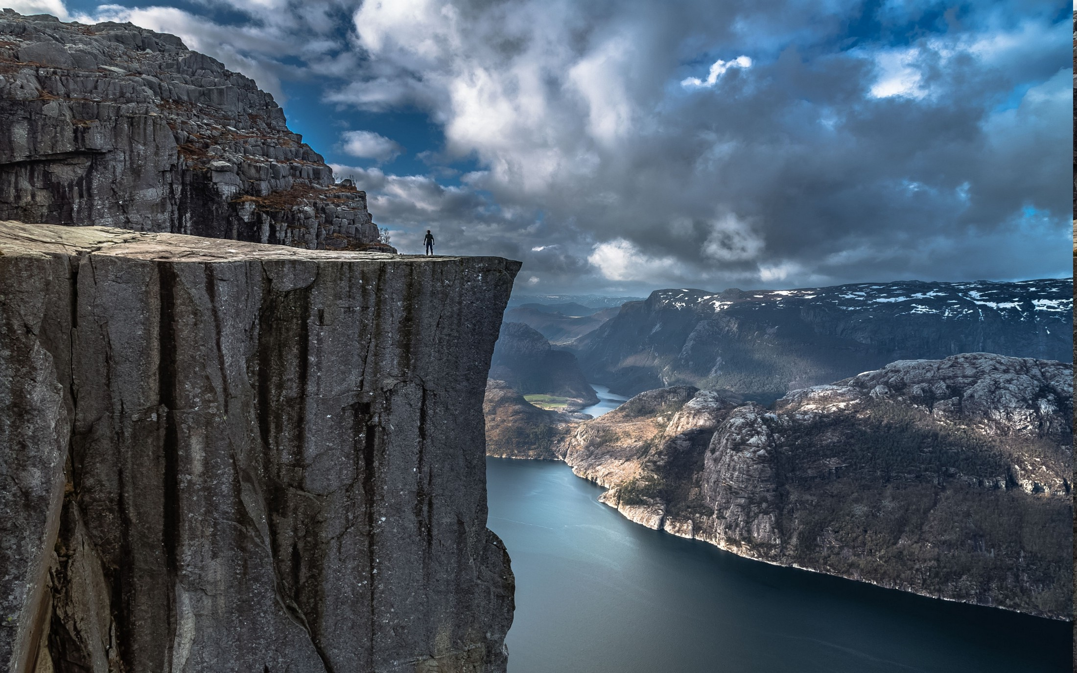 Www Alone Girl Wallpapers Com Nature Landscape Fjord Alone Cliff Mountain Norway