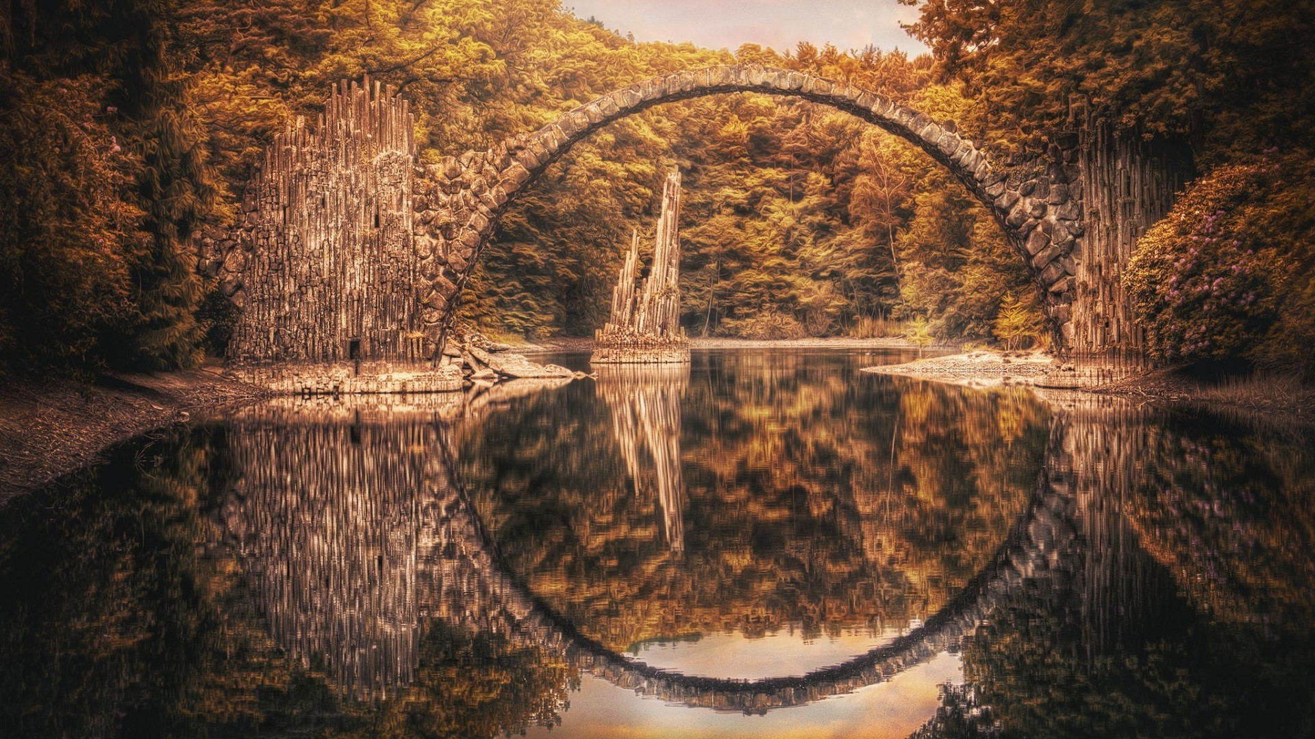 Fall Wallpaper Water Landscape Hdr Reflection Nature Bridge Rock Formation