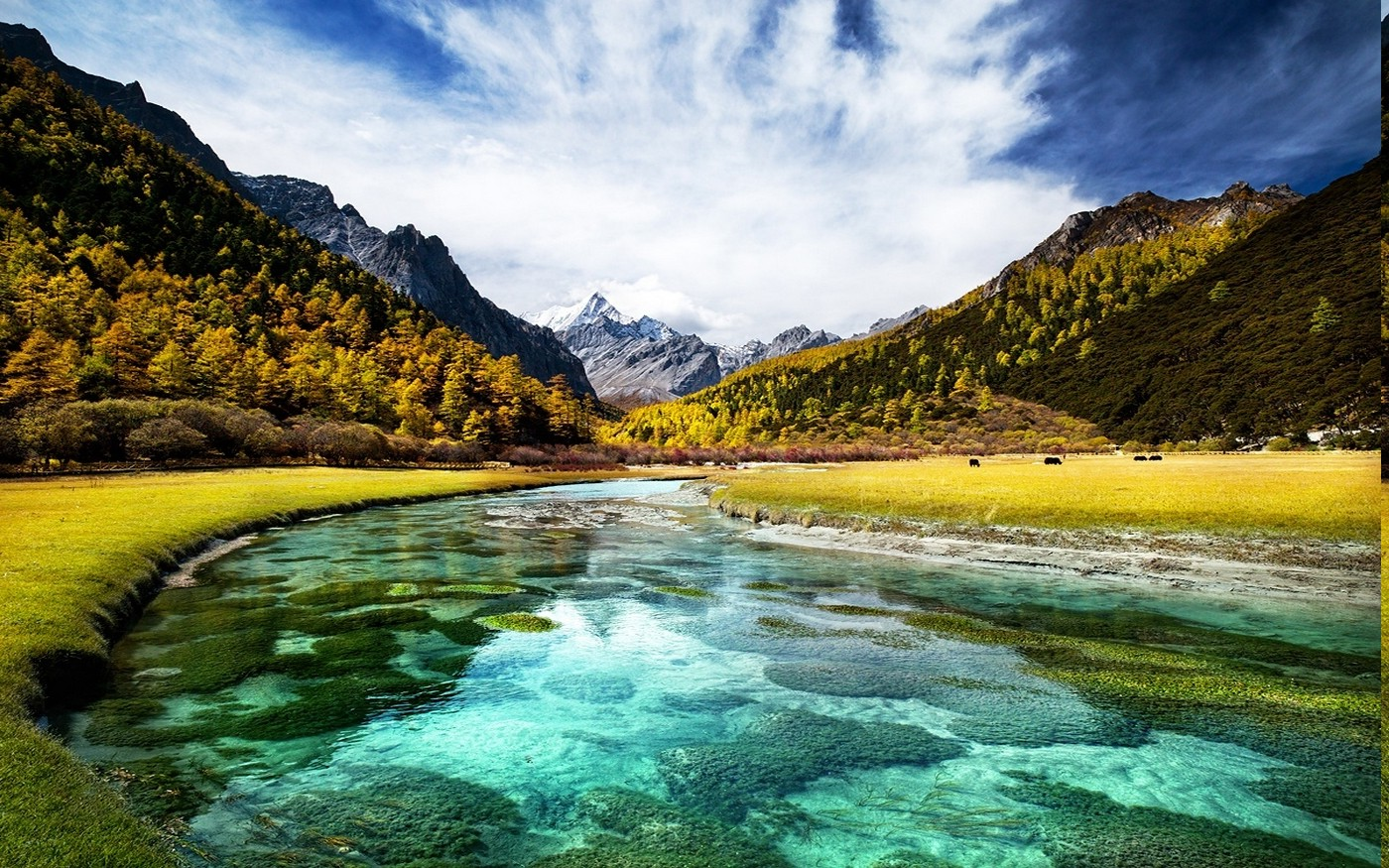 Himalaya Hd Wallpaper Landscape Nature Fall River Turquoise Water Mountain