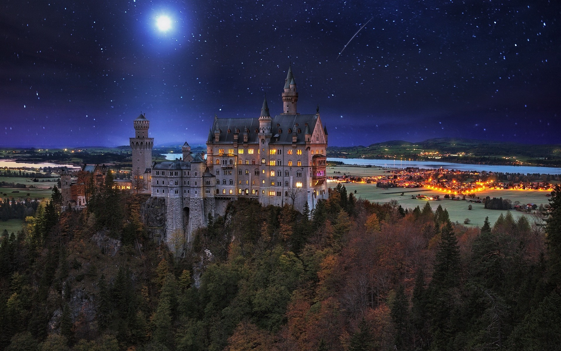 3d Christmas Wallpaper Backgrounds 2015 Landscape Nature Neuschwanstein Castle Germany Starry