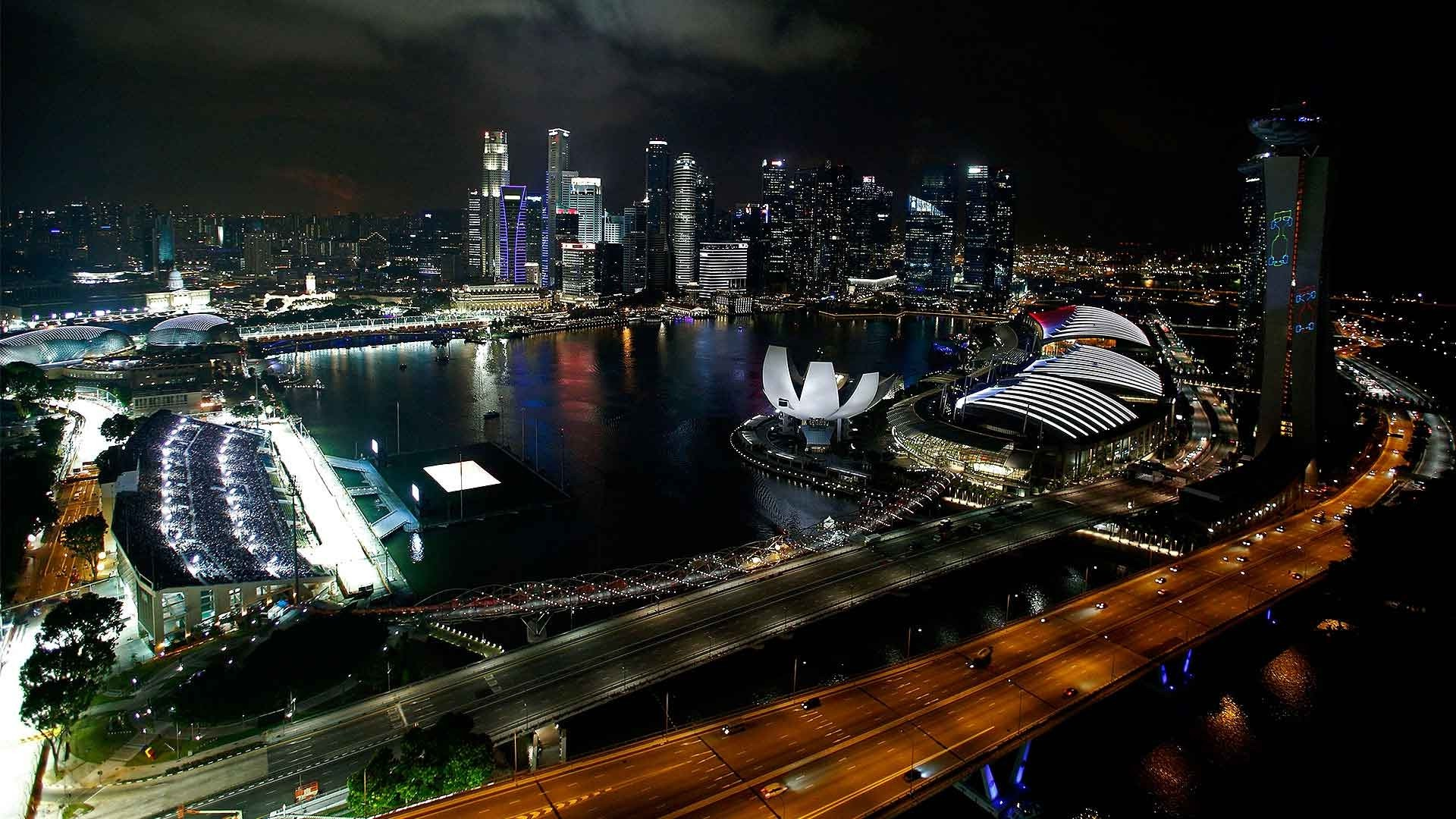 Fast Sports Cars Wallpapers Landscape Singapore Night Formula 1 Race Cars