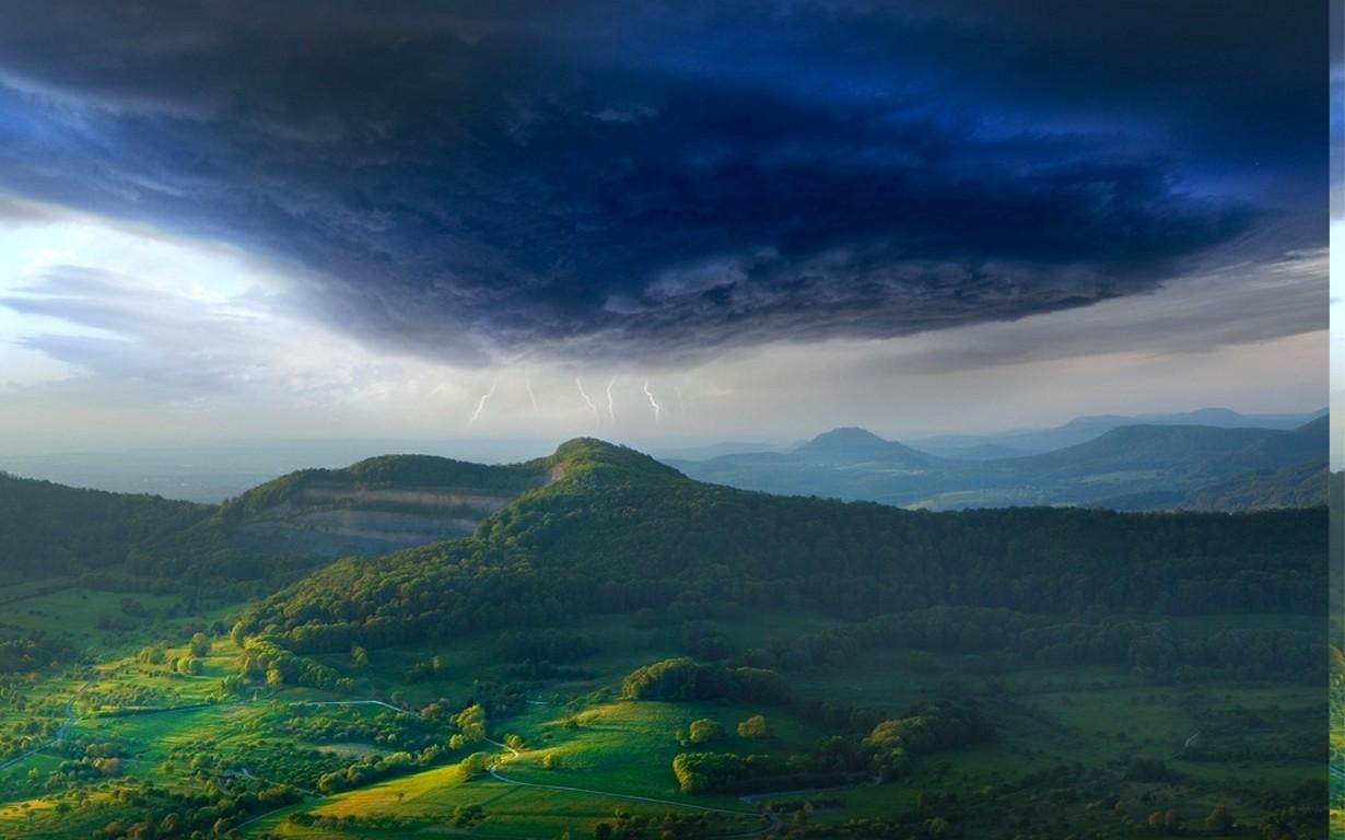 Blue Wallpaper 1920x1080 3d Nature Landscape Spring Storm Valley Lightning