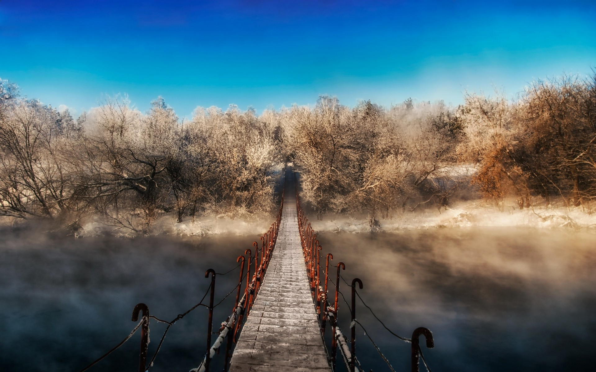 3d Wallpapers Cars Free Download Winter Forest Mist Bridge Walkway Snow Nature