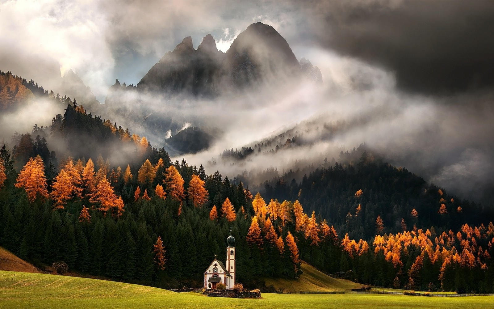 1280x1024 Fall Wallpaper Nature Mist Landscape Italy Alps Church Clouds