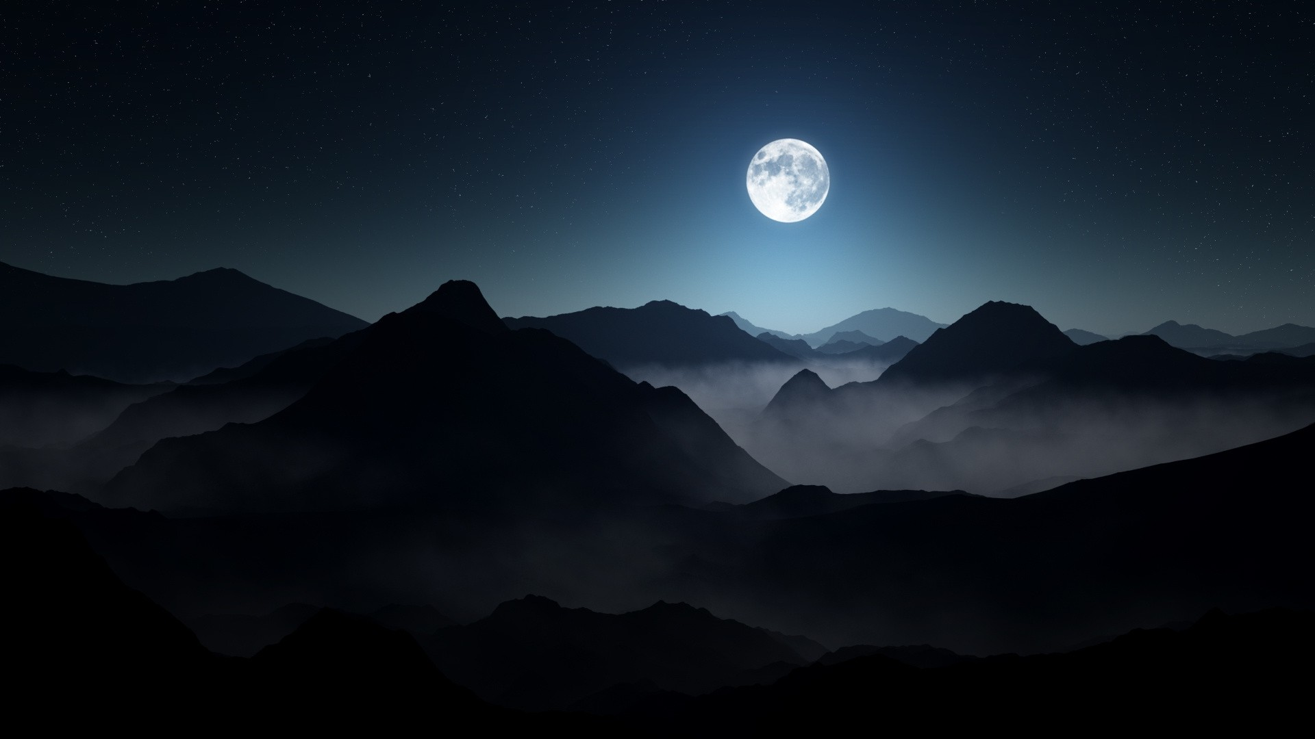 1280x800 Fall Wallpaper Nature Landscape Mountain Mist Moon Starry Night