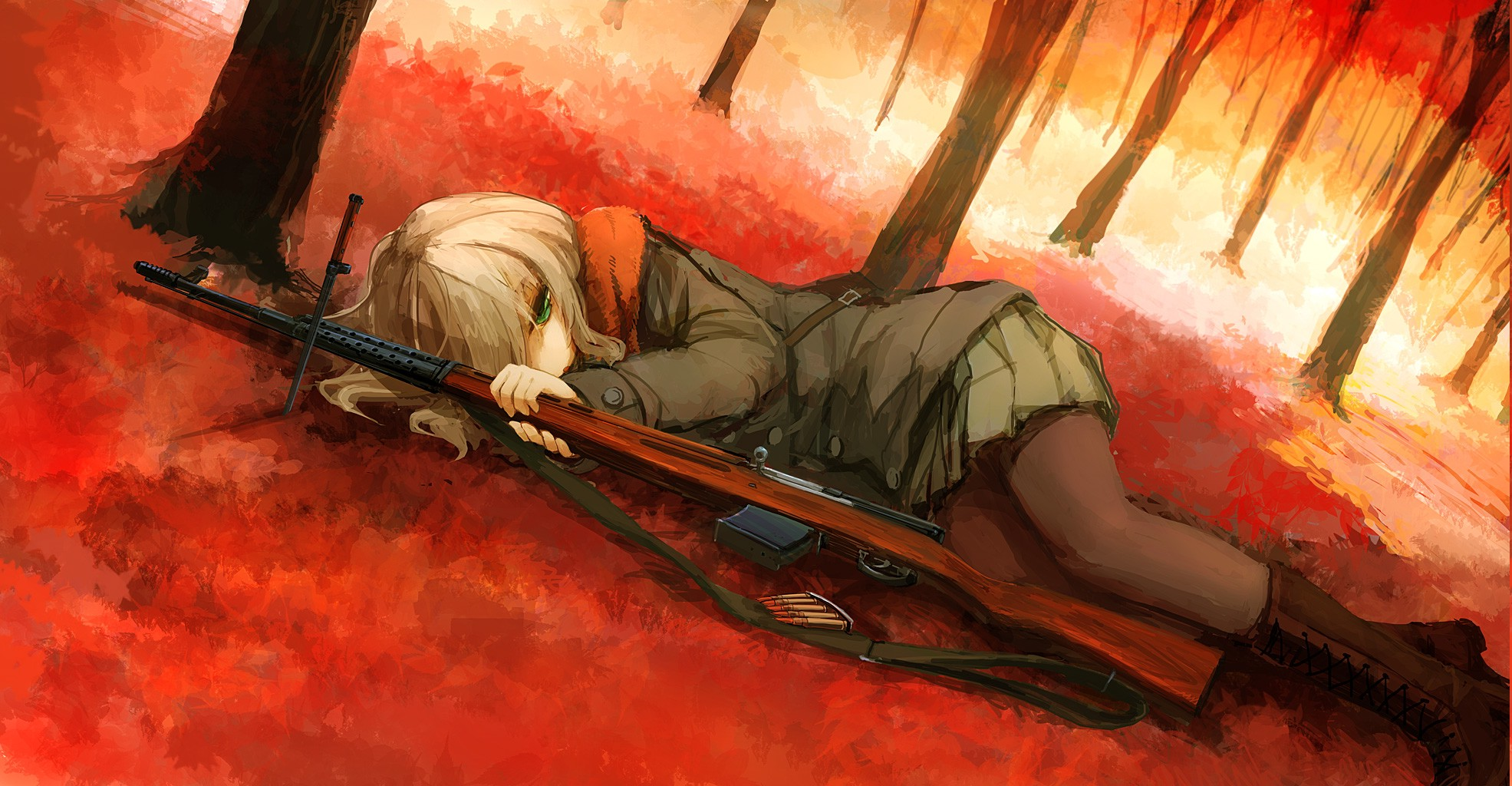 Falling In Love Hd Wallpapers Anime Girls Anime Women With Guns Fall Weapon Rifles