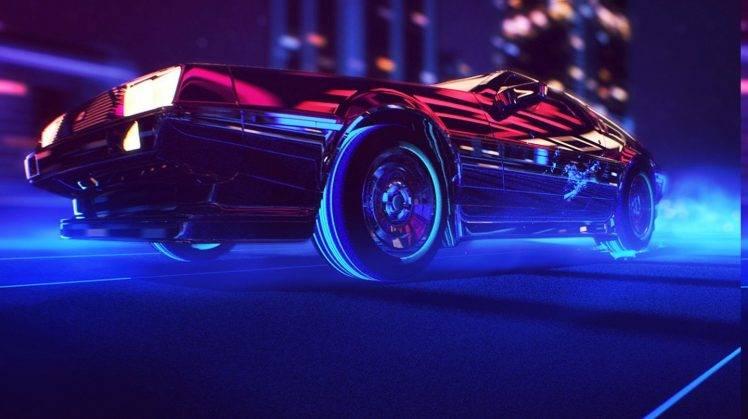 Ferrari Car Wallpaper For Desktop Synthwave 1980s Neon Delorean Car Retro Games