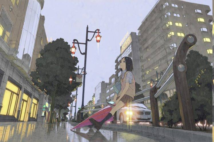 Wallpaper Of Lonely Girl In Rain Umbrella Rain City Schoolgirls Alone Waiting Anime