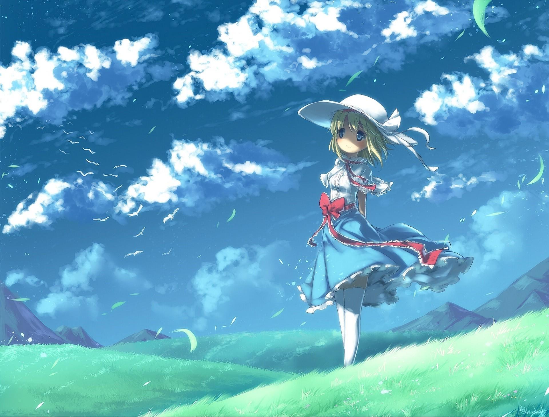Nature Full Hd 3d Wallpapers 1920x1080 Anime Girls Field Dress Landscape Clouds Sky Birds