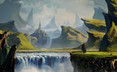 landscape, Digital Art, River, Mountain, Castle, DeviantArt Wallpapers HD / Desktop and Mobile ...