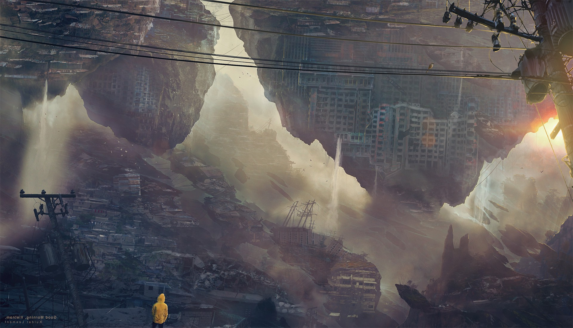 3d Wallpaper Ship Artwork Apocalyptic Cityscape Morning Anime Kuldar