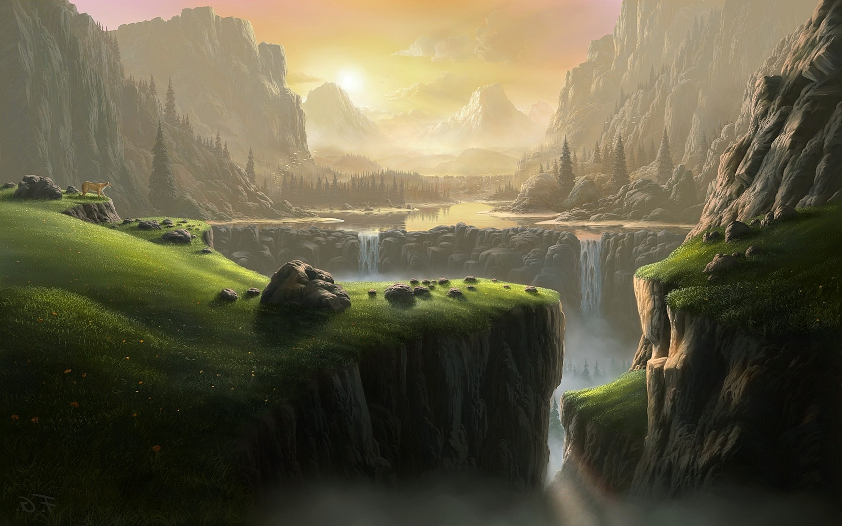 3d Candle Live Wallpaper Landscape Waterfall Fantasy Art River Mountain