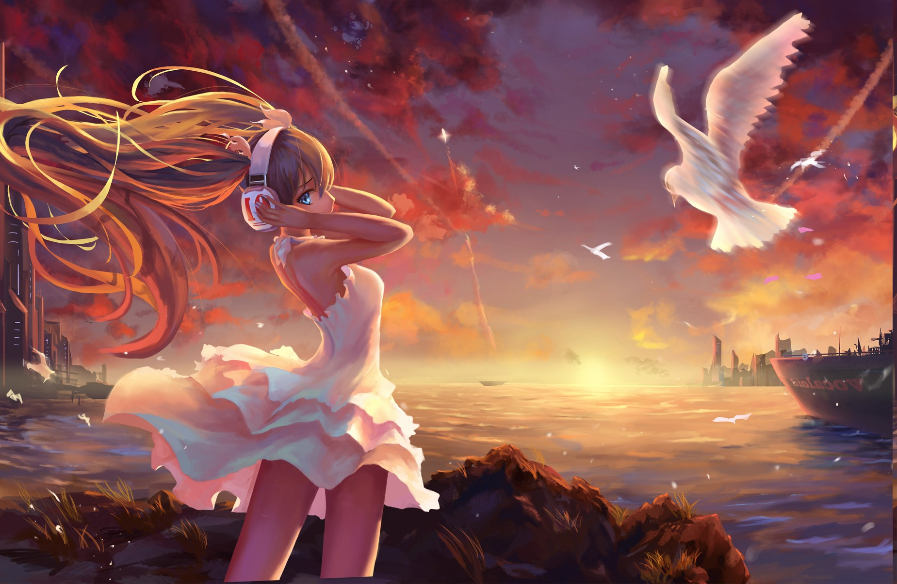 Fall Anime Wallpaper Vocaloid Anime Girls Landscape Painting Twintails Vocaloid