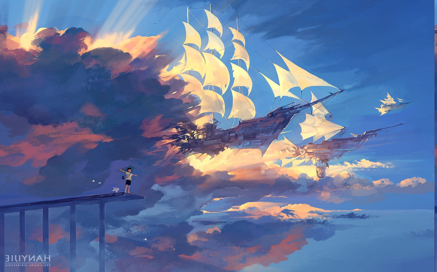 Bts Funny Quotes Wallpaper Anime Ship Clouds Sunlight Fantasy Art Wallpapers Hd