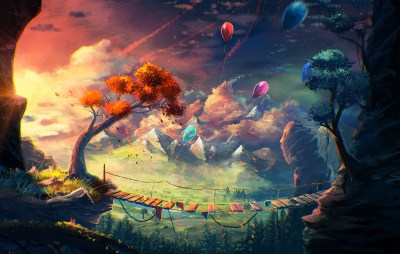 anime, Artwork, Fantasy Art, Mountain, Bridge, Balloons, Sylar, Clouds Wallpapers HD / Desktop ...