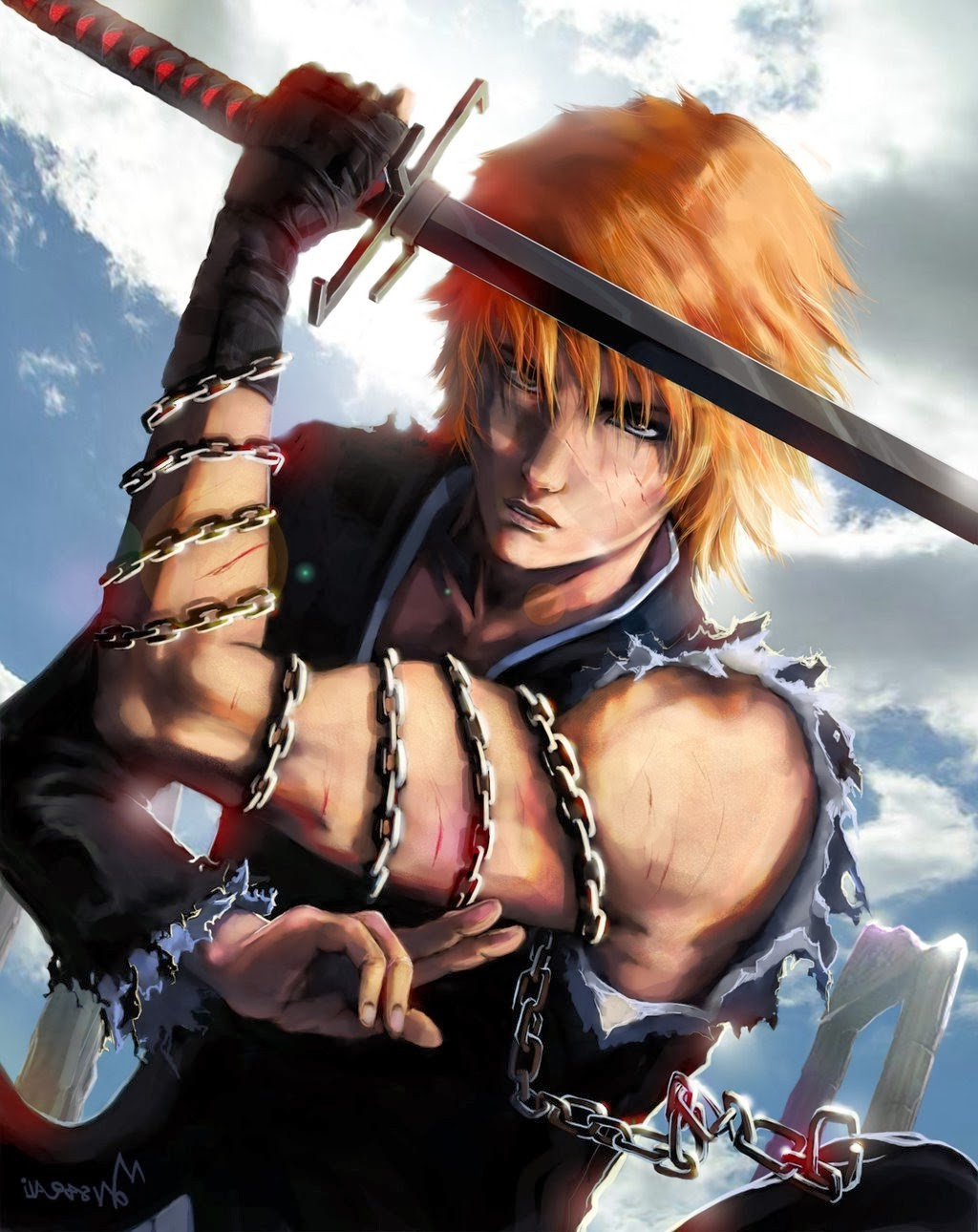 3d Wallpaper Girl And Boy Anime Bleach Kurosaki Ichigo Orange Hair Chains Sword