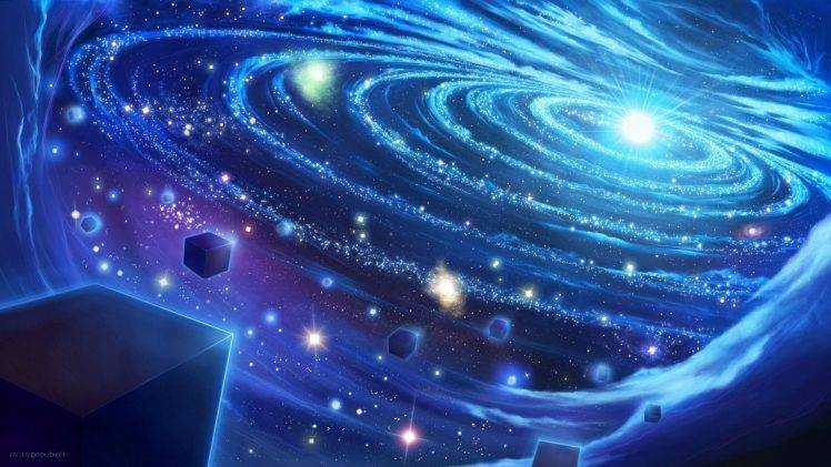 3d Live Wallpaper For Samsung Galaxy Core 2 Space Art Cube Glowing Stars Abstract Planetary Rings