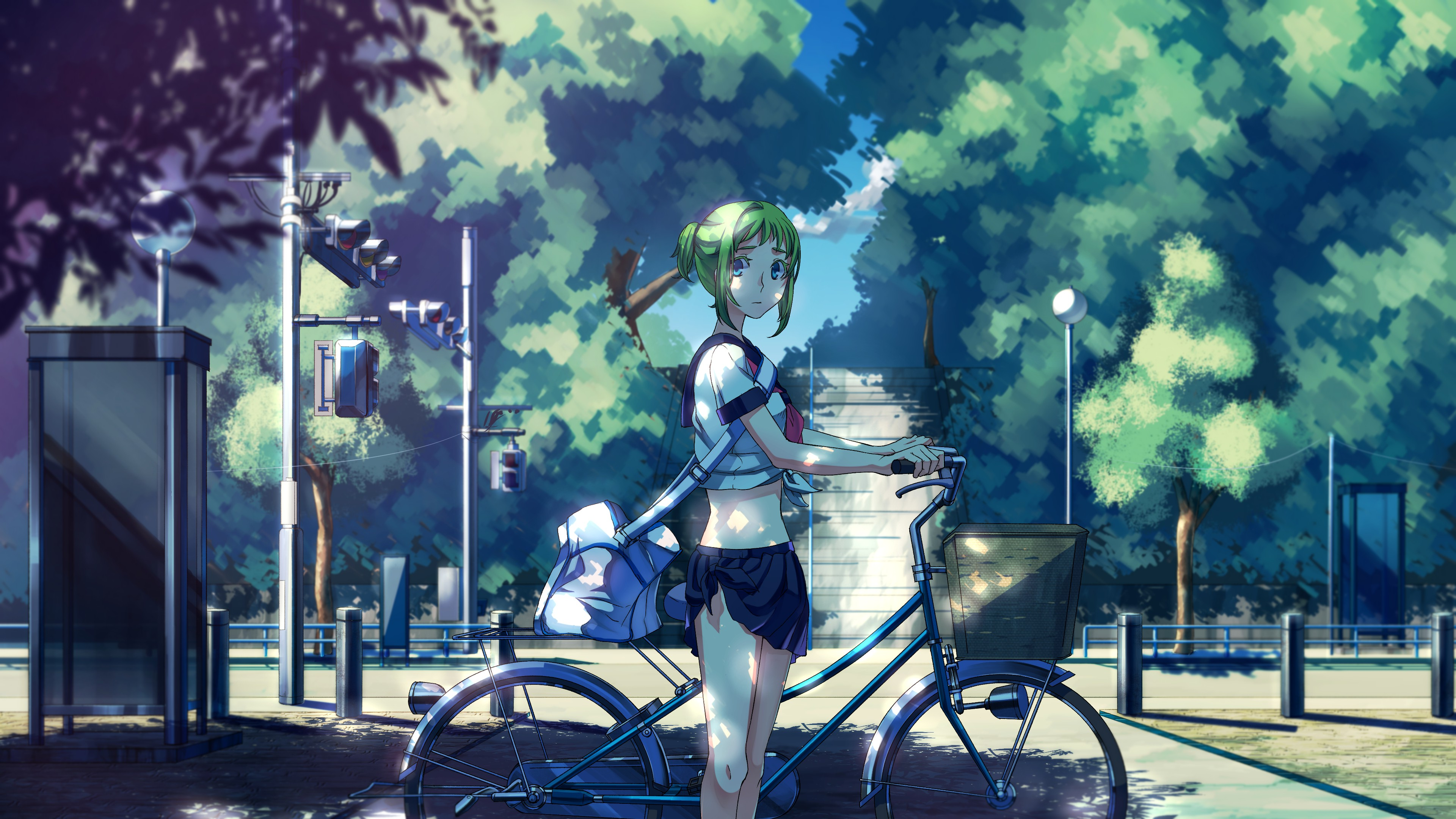 Hd 2160 Wallpapers Girl Anime Vocaloid Megpoid Gumi School Uniform Bicycle