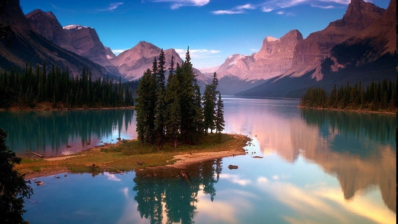 Hd 3d Wallpapers For Windows 8 Nature Mountain Reflection Trees Jasper National Park