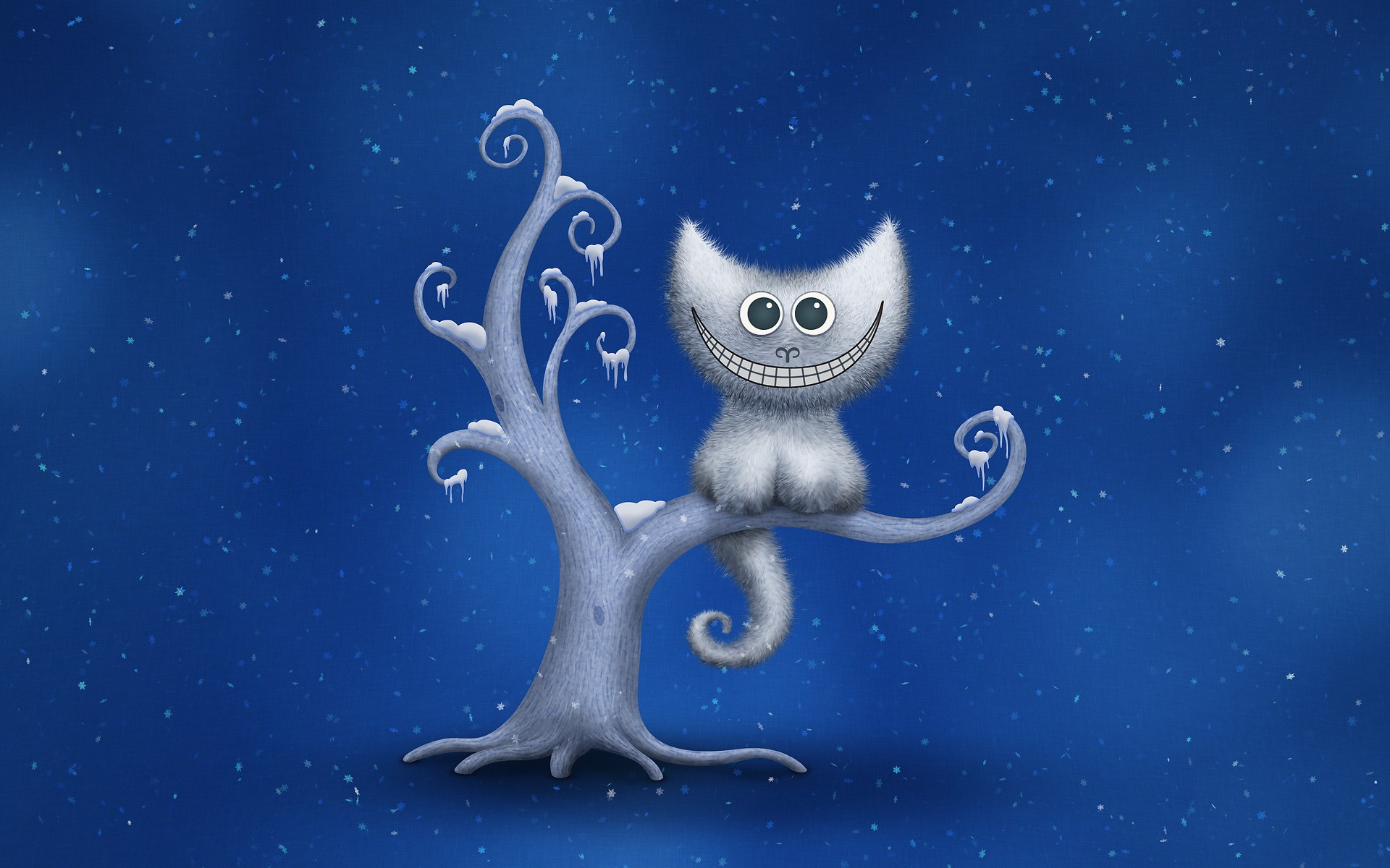 Cute Cartoon Wallpapers For Mobile Hd Digital Art Minimalism Cheshire Cat Snow Trees Blue