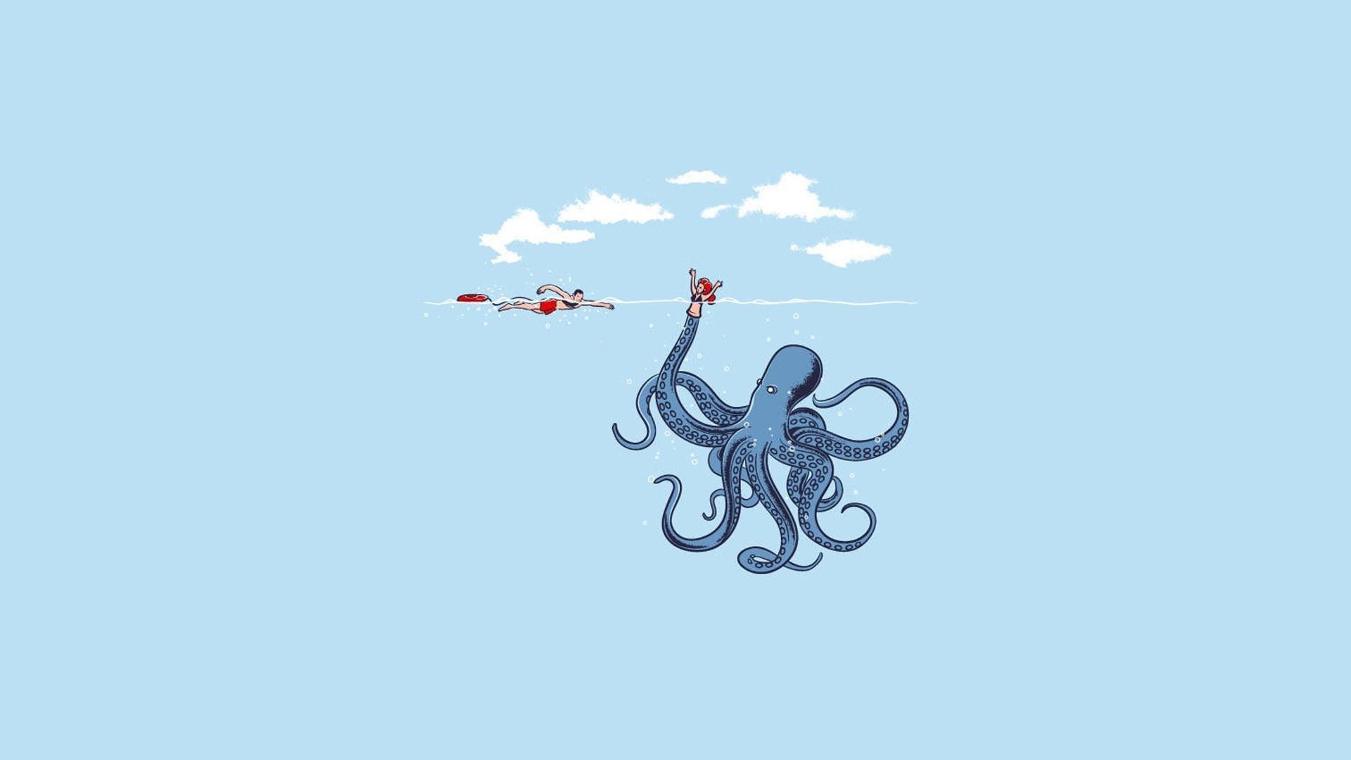 Cute Wallpapers Love Friendship Humor Minimalism Simple Blue Octopus Wallpapers Hd