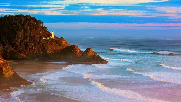 3d Moving Wallpaper For Windows 8 Coast Beach Waves Lighthouse Oregon Landscape