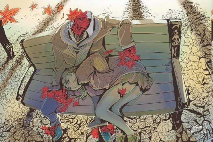 Fall Leaves Falling Wallpaper Drawing Artwork Women Leaves Fall Bench Red Lying